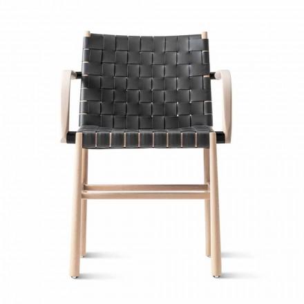 Krzesło z podłokietnikami z bielonego buku i siedziskiem ze skóry Made in Italy - Nora