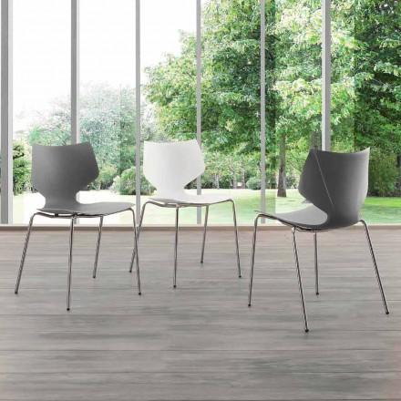 Nowoczesne krzesło chromowane z podstawą Messina