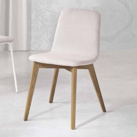 Designerskie krzesło z drewna i tkaniny do kuchni wykonane we Włoszech, Egizia