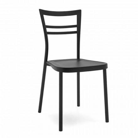 Krzesło kuchenne z polipropylenu i metalu Made in Italy, 2 sztuk - Go
