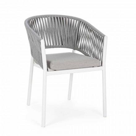 Krzesło ogrodowe z podłokietnikami w kolorze białym i szarym aluminium Homemotion - Rubio