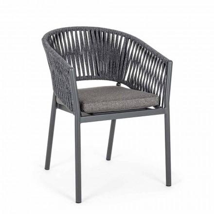 Krzesło ogrodowe do układania w stosy z siedziskiem z tkaniny, 4 sztuki Homemotion - Aleandro