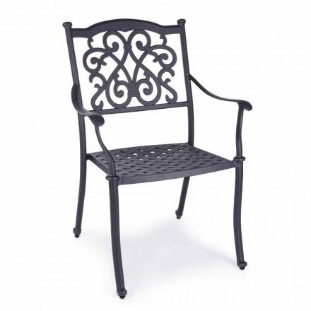 Krzesło ogrodowe do układania w stos z białego lub antracytowego aluminium, 4 sztuki - Ode