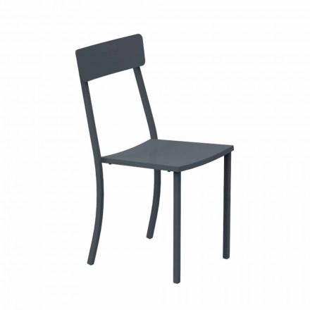 Krzesło ogrodowe do układania w stosy z malowanego metalu Made in Italy, 4 sztuki - tiul