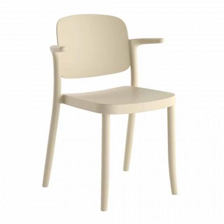Krzesło ogrodowe z możliwością układania w stosy wykonane z polipropylenu Made in Italy, 4 sztuki - Bertina