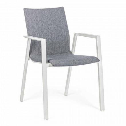 Krzesło ogrodowe z możliwością układania w stosy z tkaniny i aluminium, 4 sztuki - Kyo