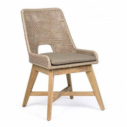 Krzesło ogrodowe z liny i tkaniny z podstawą z drewna tekowego, 2 sztuki Homemotion - Lesya