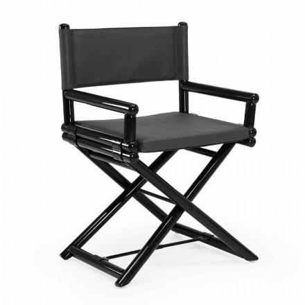 Krzesło ogrodowe z naturalnego drewna lub czarnej tkaniny designerskiej z możliwością ponownego uszczelnienia - Suzana