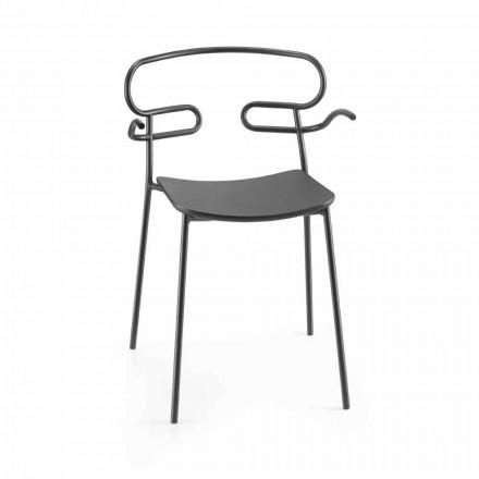 Krzesło ogrodowe z metalu i poliuretanu Made in Italy, 2 sztuki - Trosa