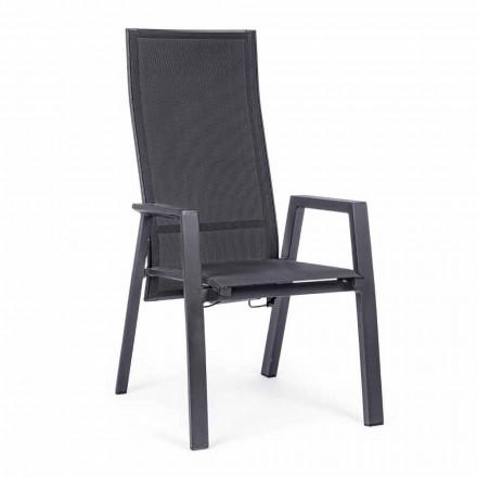 Odchylane krzesło ogrodowe z materiału tekstylnego i aluminium, 4 sztuki - Lucia