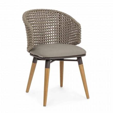Krzesło ogrodowe Tortora z drewna, aluminium i tkaniny Homemotion - Luana
