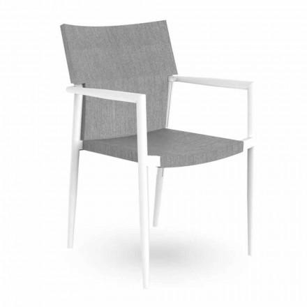 Krzesło ogrodowe z podłokietnikami z możliwością układania w stosy z aluminium i tkaniny - Adam Talenti