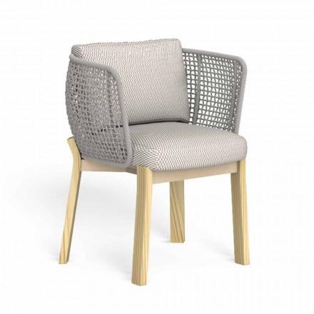 Krzesło ogrodowe z podłokietnikami z liny, tkaniny i drewna - Argo od Talenti