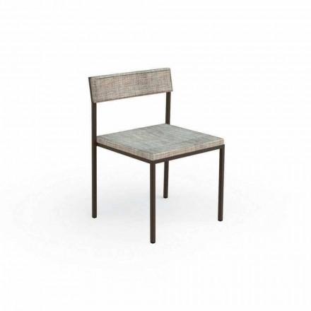 Krzesło ogrodowe tapicerowane Casilda Talenti o konstrukcji ze stali nierdzewnej