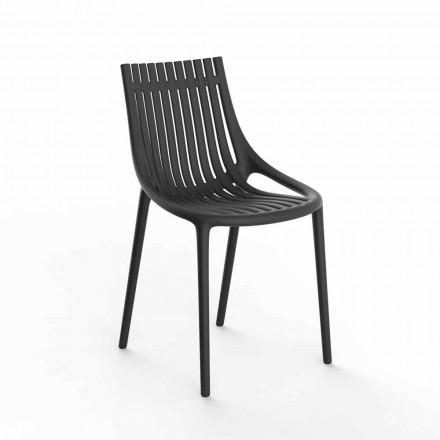 Kolorowe plastikowe krzesło ogrodowe do układania w stosy, 4 sztuki - Ibiza firmy Vondom