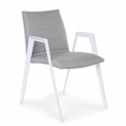 Nowoczesne krzesło ogrodowe z podłokietnikami z białego aluminium Homemotion - Liliana