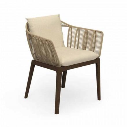 Nowoczesne krzesło ogrodowe z drewna tekowego i tkaniny - Cruise Teak firmy Talenti