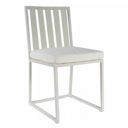 Krzesło do jadalni na zewnątrz z aluminium i luksusowej liny designerskiej 3 wykończenia - Julie
