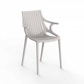 4-częściowe plastikowe krzesło do jadalni na świeżym powietrzu z możliwością układania w stosy - Ibiza firmy Vondom