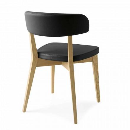 Krzesło do jadalni z drewna i tkaniny lub sztucznej skóry Made in Italy - Siren