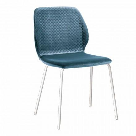 Eleganckie, nowoczesne krzesło do salonu z kolorowego aksamitu 4 sztuki - Scarat