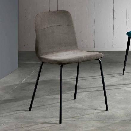 Krzesło z tkaniny i metalu do salonu wykonane we Włoszech, Egizia