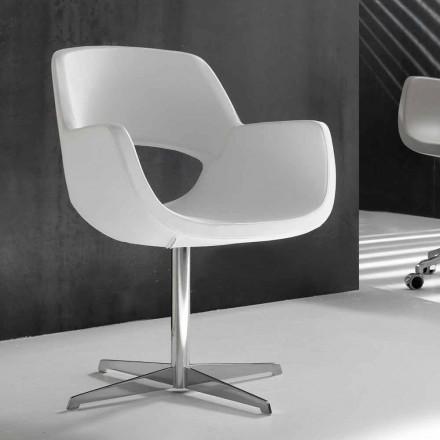 Krzesło biurowe białe z skóry ekologicznej Michelle