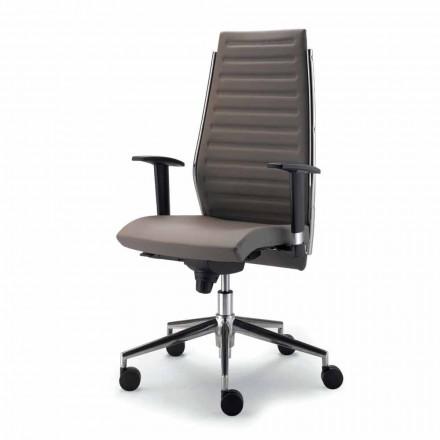 Krzesło biurowe z drewna bukowego obite skórą model Ester