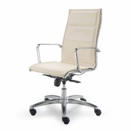 Krzesło biurowe z monocoque w imitacji skóry wykonane we Włoszech Agata