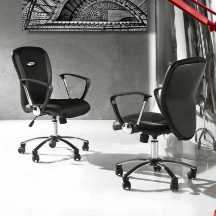 Krzesło biurowe z obrotowymi kółkami z ekoskóry i metalu - Amarilda