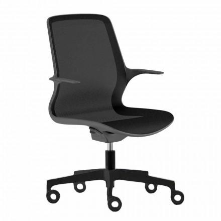 Krzesło biurowe z obrotowymi kółkami w czarnej siatce i czarnym nylonem - Ayumu