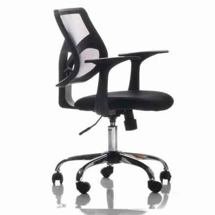 Krzesło biurowe z obrotowymi kółkami, czarne i chusteczki - Giovanna