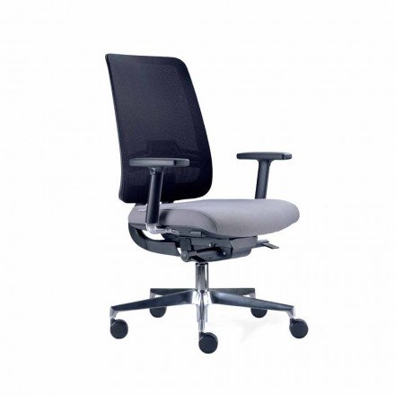 Krzesło biurowe z obrotowymi kółkami w kolorze czarnym i tkaniną Tecnorete - Menaleo