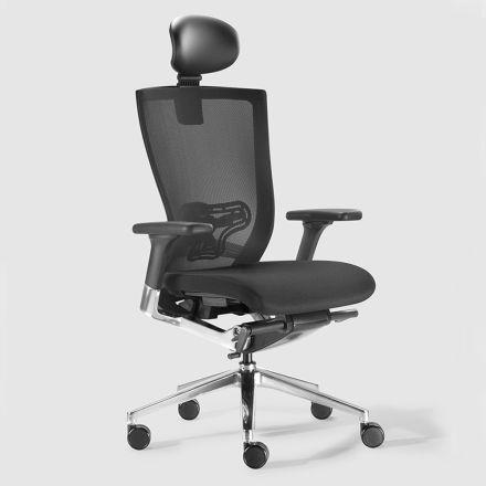 Ergonomiczne krzesło biurowe z tkaniną i kółkami ze sztucznej skóry - Takeshi