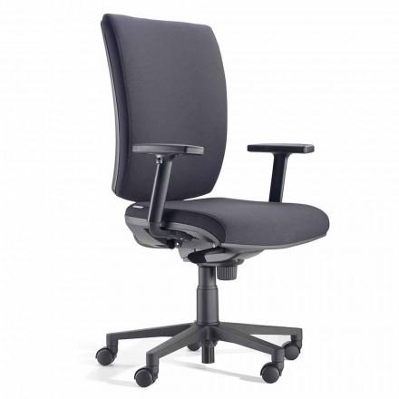 Ergonomiczne obrotowe krzesło biurowe z podłokietnikami z czarnej tkaniny - Macrino