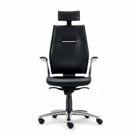 Krzesło biurowe ze skóry model Ines, made in Italy
