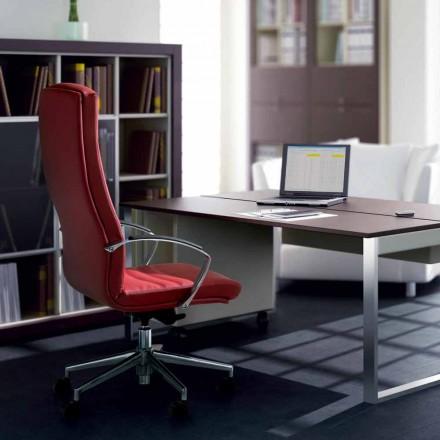 Krzesło biurowe z drewna bukowego obite skórą model Debora