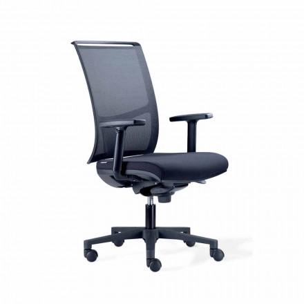 Półkierunkowe krzesło biurowe z Tecnorete i czarnej tkaniny - Vespasiano