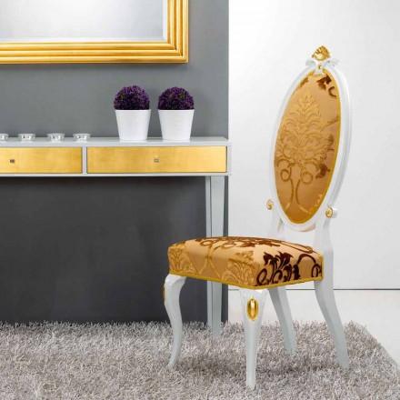 Krzesło klasyczne drewniane z złotą dekoracją model Tristan