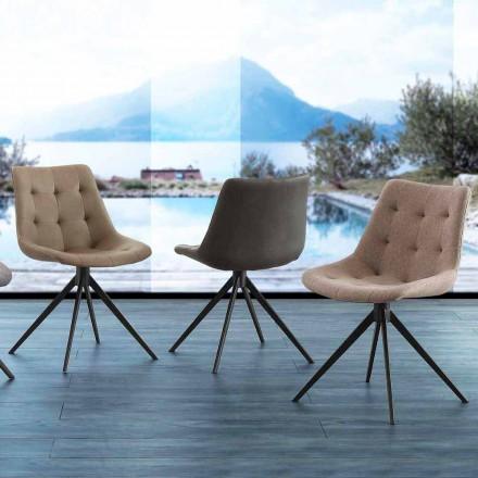 Tapicerowane, pikowane designerskie krzesło z tkaniny lub ekologicznego nubuku Venezia