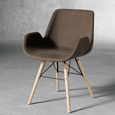 Designerskie krzesło z drewna i tkanin wyprodukowane we Włoszech, Ranica