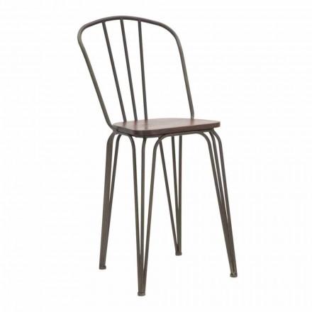 Nowoczesne krzesło w stylu industrialnym z żelaza i drewna, 2 sztuki - Erika