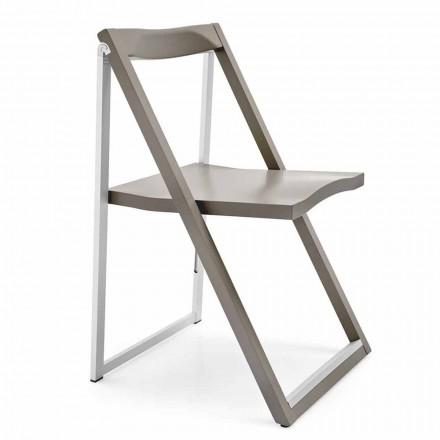 Składane krzesło z aluminium i drewna bukowego Made in Italy, 2 sztuk - Skip