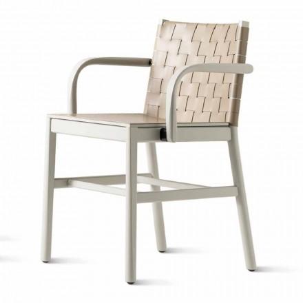 Luksusowe krzesło z beżowego lakierowanego buku i plecionej skóry Made in Italy - Nora