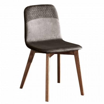 Eleganckie krzesło o nowoczesnym designie z kolorowego aksamitu i drewna 4 sztuki - Bizet