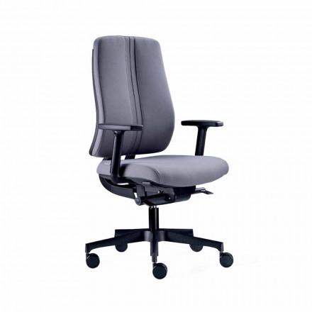 Ergonomiczne nowoczesne obrotowe krzesło biurowe z czarnej ognioodpornej tkaniny - Menaleo