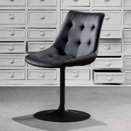 Krzesło obrotowe, siedzisko ze skóry ekologicznej z tuftowaną pracą - Aura