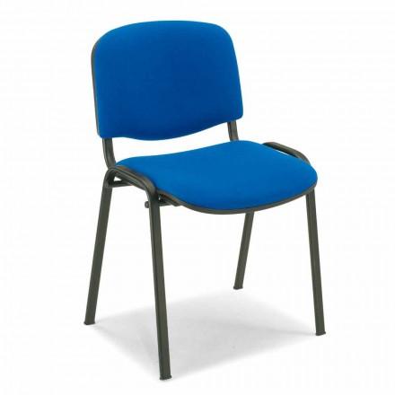 Nie tapicerowane krzesło do poczekalni z czarną metalową podstawą - Carmela