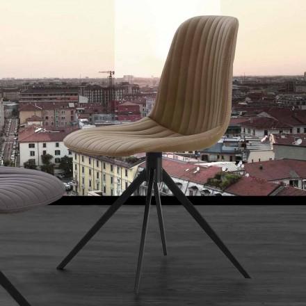Krzesło tapicerowane w nowoczesnym stylu z ekologicznego nubuku i metalu, Taranto