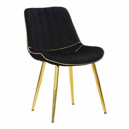 Wyściełane krzesło do jadalni z drewna i tkaniny, 2 sztuki - Kolly